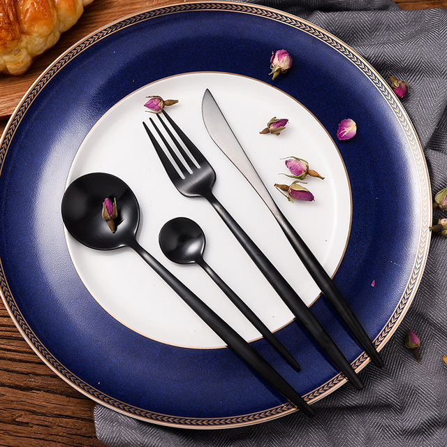 KuBac Hommi 24Pcs Stainless Steel Western Food Tableware Sets Black Cutlery Luxury Matte Fork Teaspoon Knife Craft