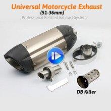36-51 мм Универсальный мотоцикл выхлопной модифицированный глушитель труба скутер, питбайк грязи мотокросса для Yamaha R1 ER6N CBR250R