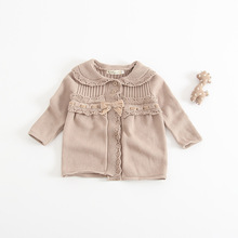 Ins Hot Sell Toddler Baby Girls Knitted Sweater Cardigans Candy Color Ruffles Baby Autumn Jackets Outwears
