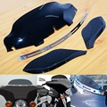 """6"""" Black Windshield+Side Air Wings + Slotted Stock Batwing Trim For Harley Davidson 1996-2013 Electra Street Tri Glide Touring"""