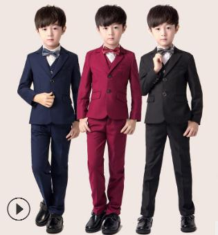2018 Brand Boys Casual Tuxedos Suits Spring Solid Kids Wedding Suit