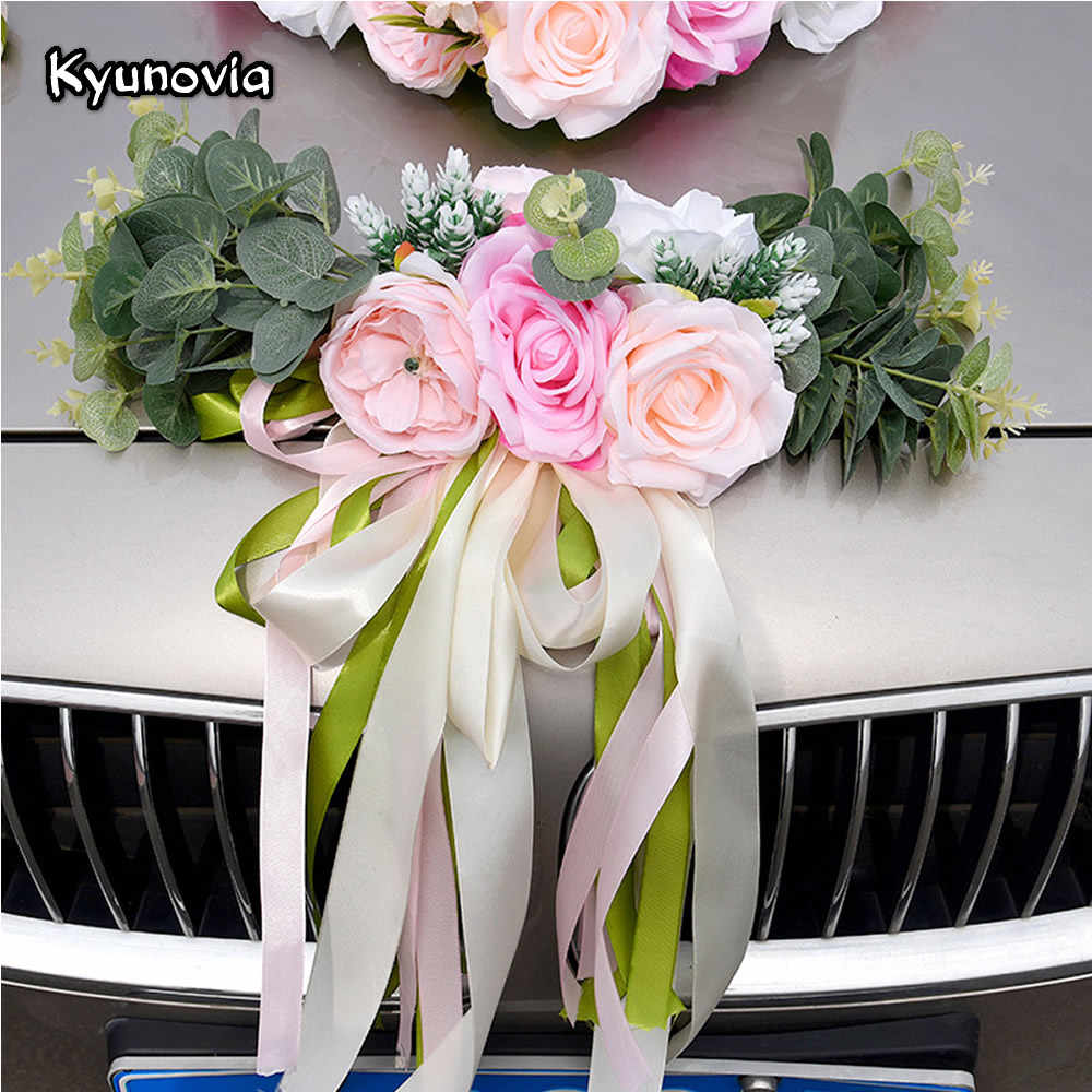 Kyunovia Wedding Car Accessory Car Roof Tail Simulation Decoration Wedding Car Decoration Flower KY131