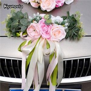 Image 1 - Kyunovia Hochzeit Auto Zubehör Auto Dach Schwanz Simulation Dekoration Hochzeit Auto Dekoration Blume KY131