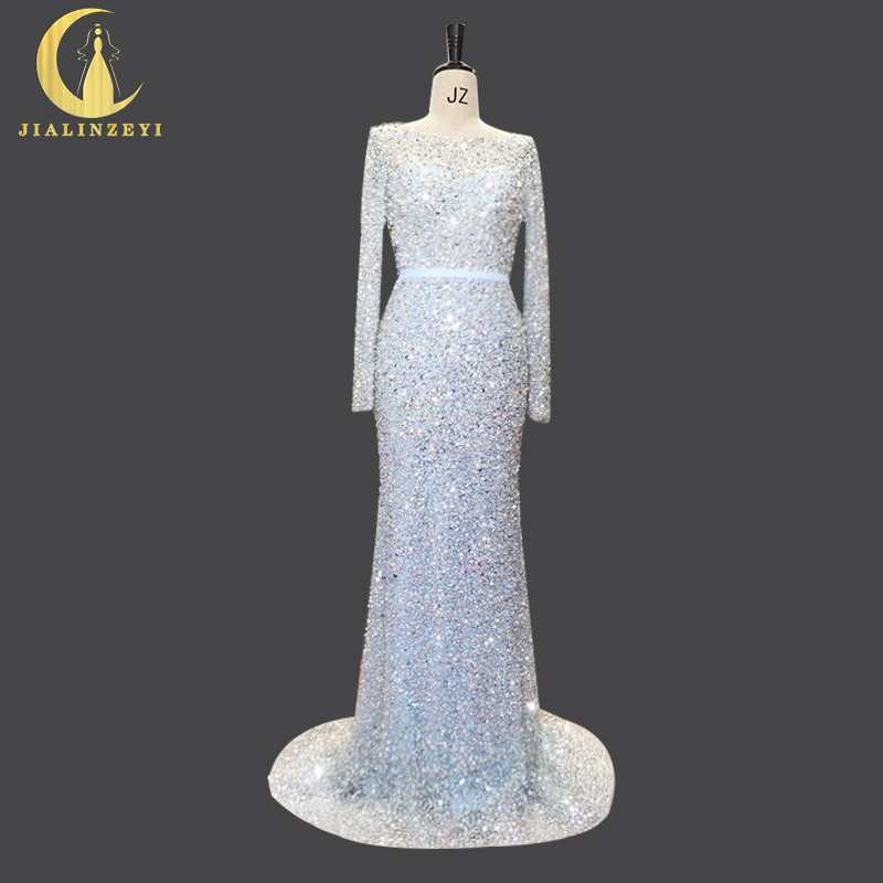 Suzhou Rhine Bridal Dresses.,Ltd Rhine Real Sample Image Blue with Sliver Sequins High Quality Mermaid Fashion Luxurious Formal Sexy Evening Dresses Dress 2017
