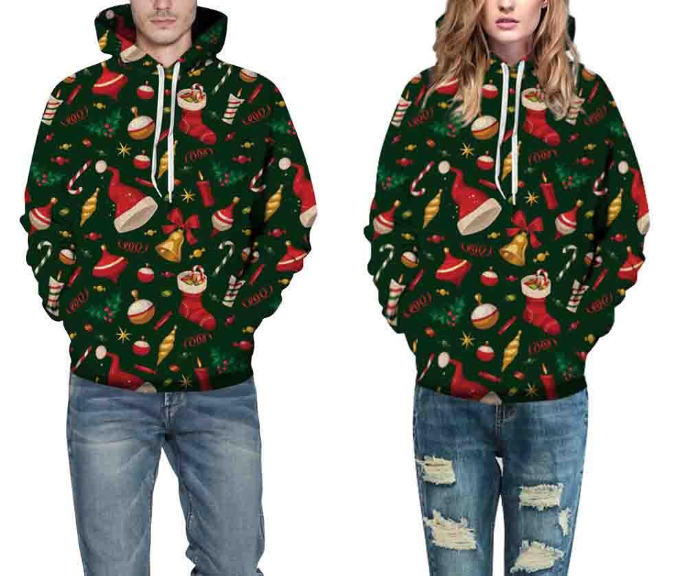 Leezeshaw 3D Digital Printing Christmas Costumes Sweatshirts With Pocket Women Oversize Streetwear Sweats With String Wholesales