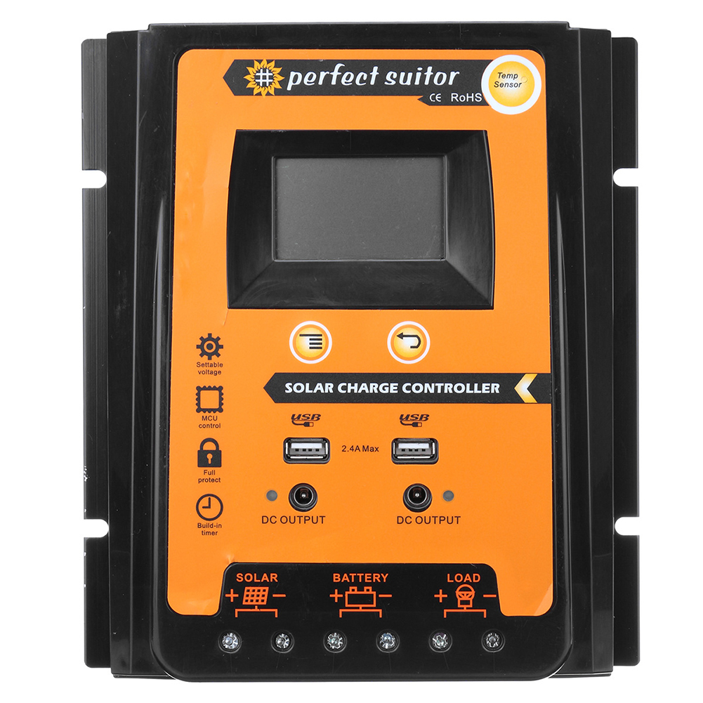 12V/24V Automatic Dual USB Solar Charge Controller Tool LCD Display Panels Battery Regulator Durable Overload Protection12V/24V Automatic Dual USB Solar Charge Controller Tool LCD Display Panels Battery Regulator Durable Overload Protection