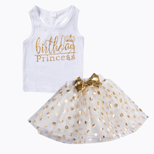 Kid Baby Girl Birthday Outfit Top T-shirt Party Skirt Prince