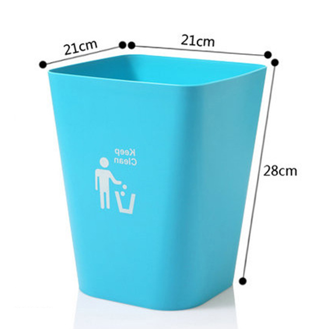 Square Shape Solid Color PP Trash Bin Wastebasket Paper Basket Trash ...