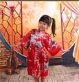 RB009 Pavo Real Robe Satin Niños Túnicas Kimono Dama de Honor Niña de las Flores Vestido de los niños de Seda del Camisón albornoz Kimono robe