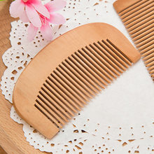Hottest Compact Anti-static Natural Peach Wood Mahogany Hair Comb Pocket Fringe Comb Health Care Head Massage Hair Brush(China)