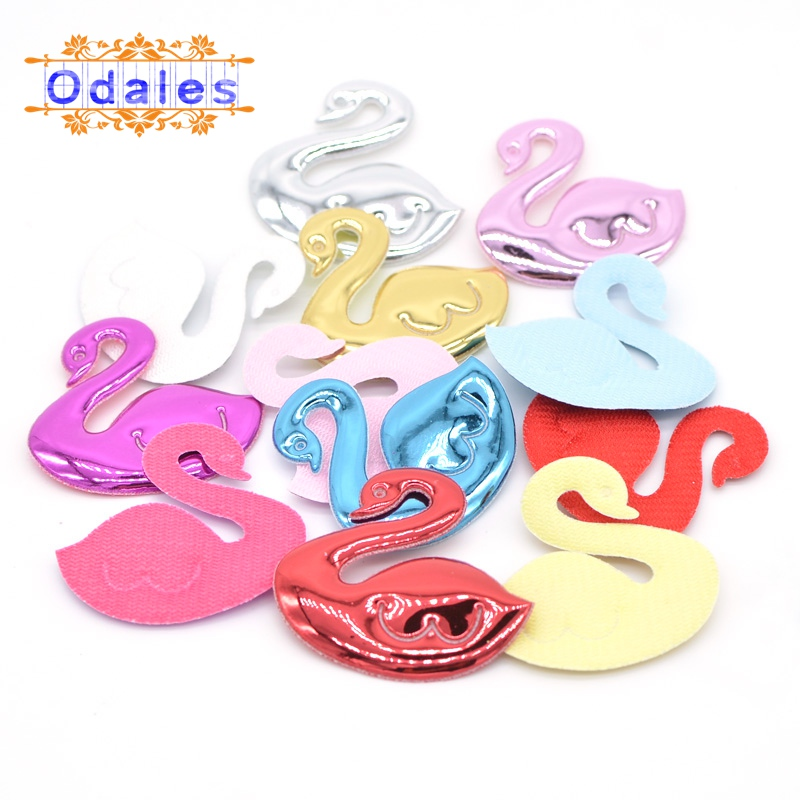 50Pcs Multicolors Swan Patches Kawaii Appliques for Headband Padded Appliques for DIY Decoration Crafts Wedding Dessert Decor