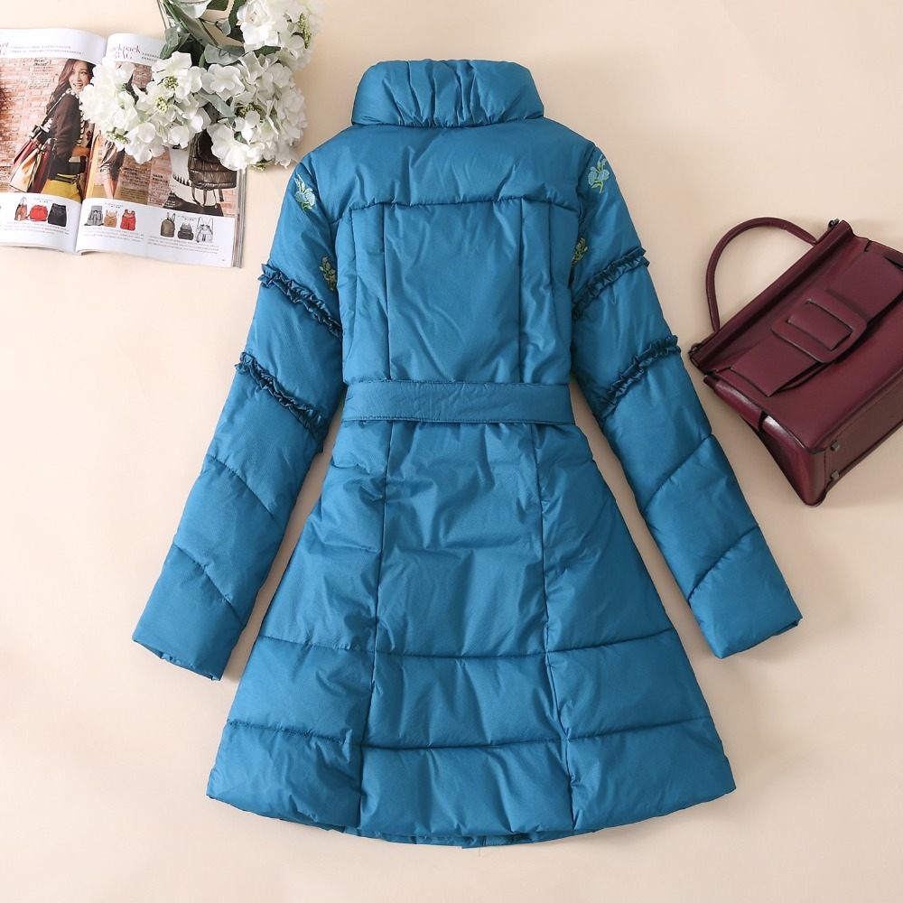 Veste Taille 3xl Floral Plus Manteau red Col Femmes Poche Blue Dame Épaissir Support La Broderie Parkas Blanc Mince Canard D'hiver Outwear 5FppqO1