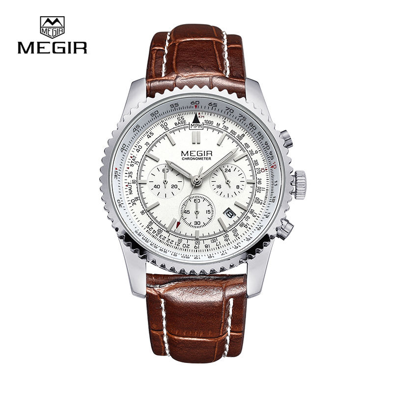 hot Megir casual brand men's quartz watches luminous stop watch for man analog wrist watch with calendar male 2009 free shipping megir fashion sport quartz watches men casual leather brand wristwatch man hot waterproof luminous stop watch for male hour 2015