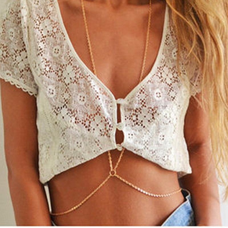 Charming Hot Body Elegant Gold Chain Crystal Rhinestone Sexy Bikini Crossover Belly Chain Waist Boho Summer Beach Body Jewelry