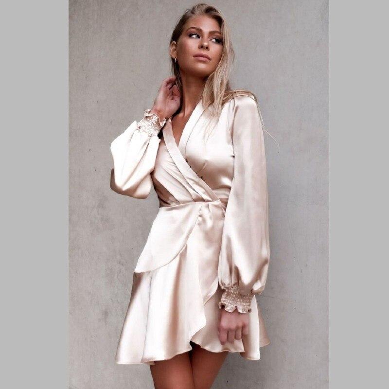84c54e96561ce Zmvkgsoa أنيقة المرأة الحرير فساتين كشكش طويلة الأكمام سيدة التفاف اللباس  الخريف الشتاء مثير الإناث vestidos