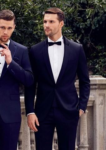 Men Wedding Suit Tuxedo Kingsman Shawl Lapel Grooms Tuxedos Navy Blue Suits For Ko5658a