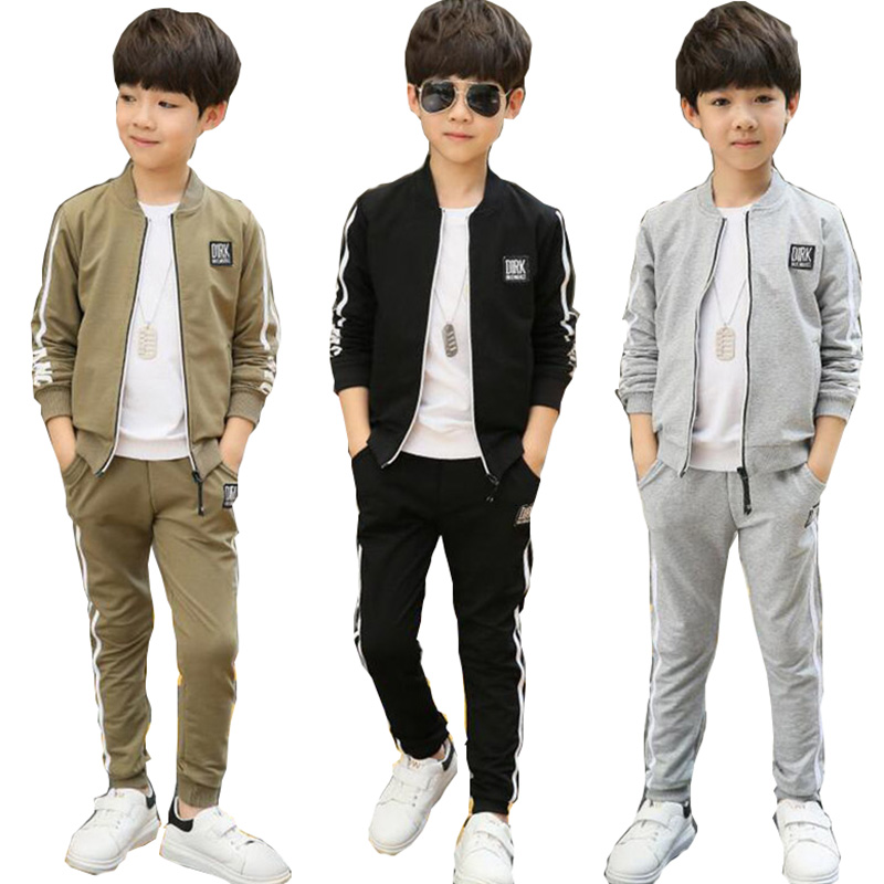 2018 autumn sports suit for boys clothing set Kids clothes black gray brown long sleeve pure cotton sports set for Children