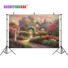 SHENGYONGBAO Vinyl Photography Backdrops Props Blue sky and white cloud forest theme Photo Studio Background SML-0024
