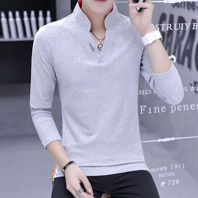 Long-sleeved shirt male 2019 men's new fashion trend v-neck   polo   shirt daily casual self-cultivation
