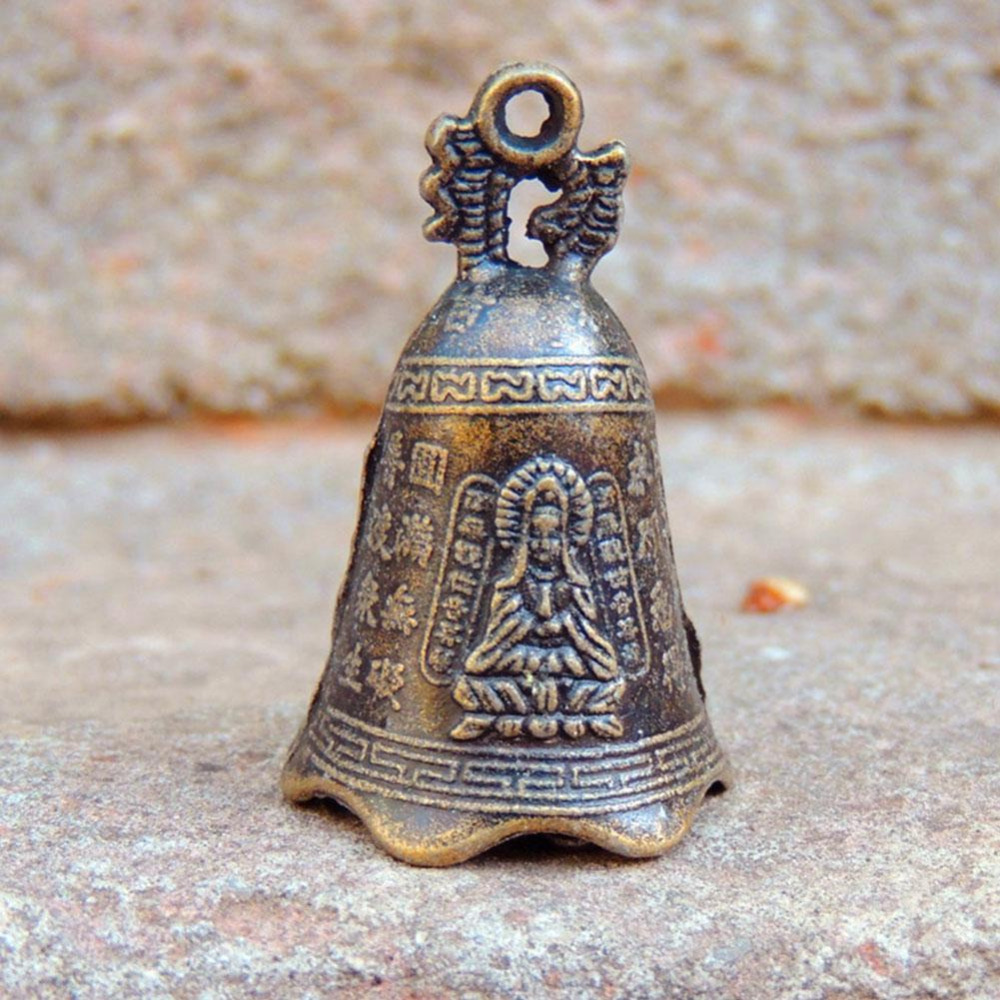 4.8*3cm MINI Antique Bell China's Mini Brass Copper Sculpture Pray Buddha Fengshui Bell Invitation Buddhism Chinese Guanyin Bell