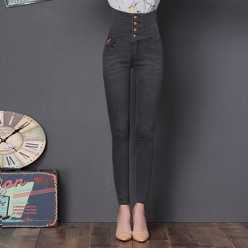 Embroidered Butterfly Jeans Pants 2017 New Women High Waist Slim Skinny Jeans Stretch Trousers Plus Size Grey Jeans J13 Z30 2017 new jeans women spring pants high waist thin slim elastic waist pencil pants fashion denim trousers 3 color plus size