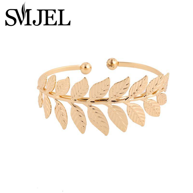 SMJEL 2017 New Fashion Open Leaf Bracelet Bangles for Women Boho Big Leaf Cuff Bangles Wedding Gift G062