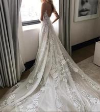 Deep V neck Wedding Dress Lace Spaghetti Straps Beach