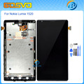 High quality Replacement full screen for Nokia Lumia 1520 lcd display with touch digitizer frame assembly black color+free tools