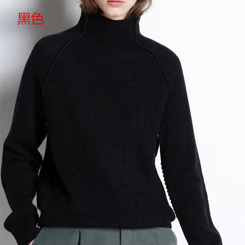 Baru Kedatangan Musim Gugur Musim Dingin Kasmir Sweater Wanita Tinggi Kerah Tebal Longgar Pullover Sweater Rajutan Wol Kemeja Perempuan Jumper