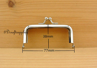 coin purse frame glue on clasp clip silver 3 inch x 1 1/2 inch A29 bag frame sewing purse frame metal frame silver 3 1 4 inch x 1 1 2 inch d78