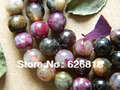 Wholesale  (2 strands/set) tourmaline natural stone 9-9.5mm slider round christmas beads european charms