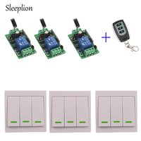 Sleeplion 12V 10A wireless Wall Switch Remote control Transmitter+3 Receiver Teleswitch For LED Lamp Door Fans