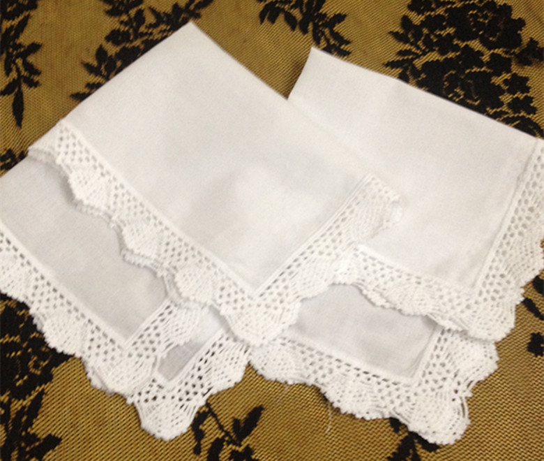 Nivelty Women Handkerchiefs 12PCS/Lot 12x12White Cotton Wedding Handkerchiefs Embroidered Lace Hankies For For Special Occasions