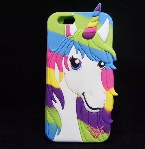 High Quality Luxury Silicone Rainbow Horse Unicorn Case For Iphone 4 4s 5 5s se 5c 6 6s 6 6s Plus Phone Cover Back Capa Fundas