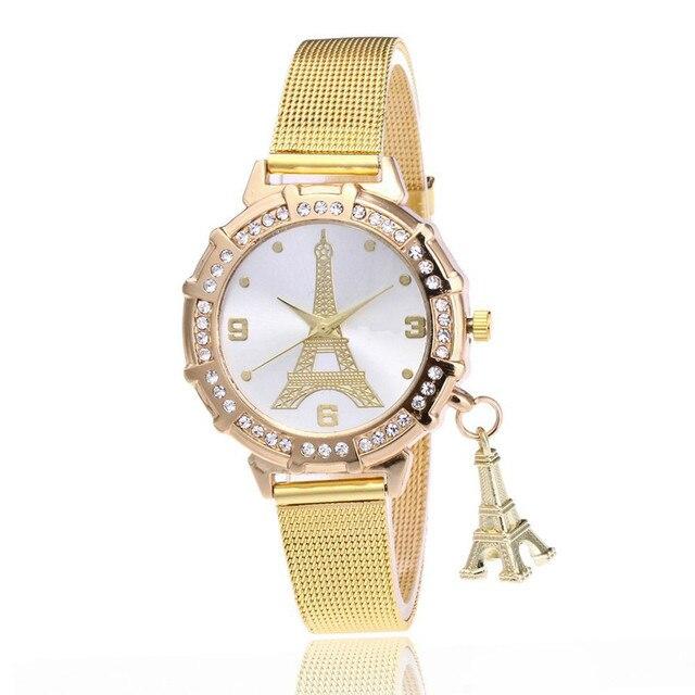 d603d3e54e2 Novas Mulheres Relógios de Marca de Luxo Paris Torre Pingente de Diamante  Relógio de Quartzo Das