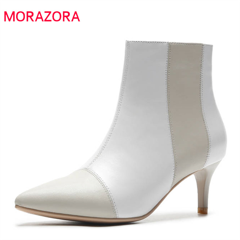 MORAZORA 2018 top quality genuine leather ankle boots women pointed toe autumn winter boots mixed colors office ladies shoes printing new boots 2015 autumn winter genuine leather mixed colors thick with pointed toe woman boots stylish comfortable shoes