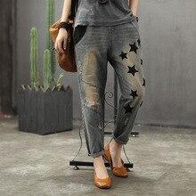 Горячая весна джинсы женские Ретро свободные джинсы новые эластичные талии карман вышивка пять звезд отверстие повседневные женские джинсовые брюки