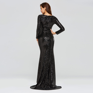 Image 4 - Dressv black evening dress v neck long sleeves sequins mermaid floor length wedding party formal dress trumpet evening dresses