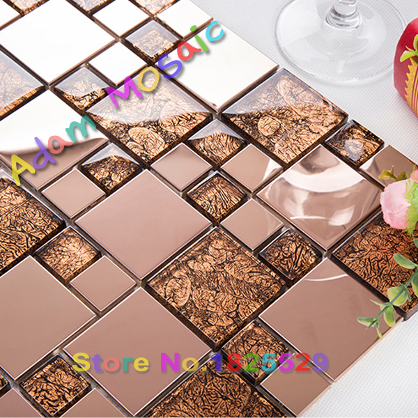 Brown Red Metal Tile Backsplash Mosaic Tile Glass Kitchen Wall Sheets Red  Glass Fireplace Gold Stainless