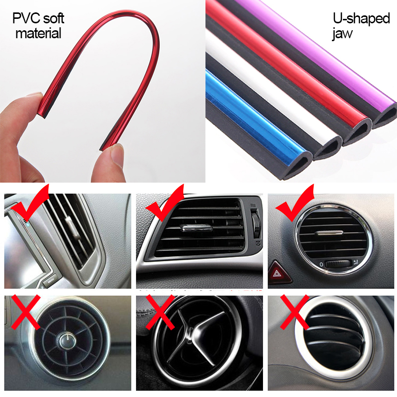 Image 5 - Car Stickers Interior Dashboard Air Outlet Vent Decoration Moulding Strips Universal Automobiles PVC Sticker on Cars Accessories-in Car Stickers from Automobiles & Motorcycles