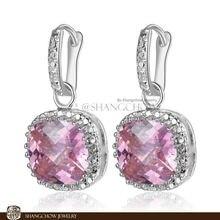 New Stunning Fashion Jewelry Pink Kunzite 925 Sterling Silver Jewelry Earrings E0154