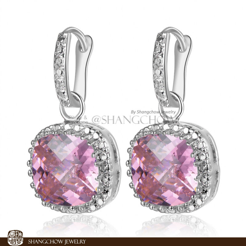 New Stunning Fashion Jewelry Pink Kunzite 925 Sterling font b Silver b font font b Earrings