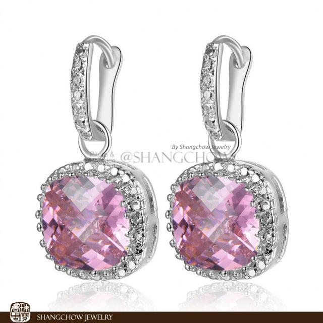 Nueva! joyería moda impresionante Kunzite rosado 925 plata de ley pendientes E0154