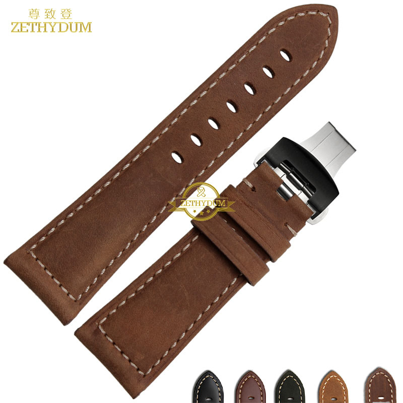 Genuine leather bracelet watch strap 22mm 24mm 26mm Thick watch band watchband Retro style mens Wrist belt Butterfly buckle genuine leather bracelet watchband wrist watch strap black with red stitched 21mm mens watch band for nj2167 nj2166 accessories