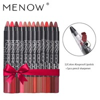 Menow 12 Color/Pack KISS PROOF Sexy Beauty Waterproof Lipstick Pen Lasting Do Not Fade Lipstick Gift 1Pcs Pencil Sharpener 4186