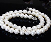 Hot Sell Noble FREE SHIPPING AS1924 Charming Elegant Fashion 8 9MM White Akoya Cultured Pearl