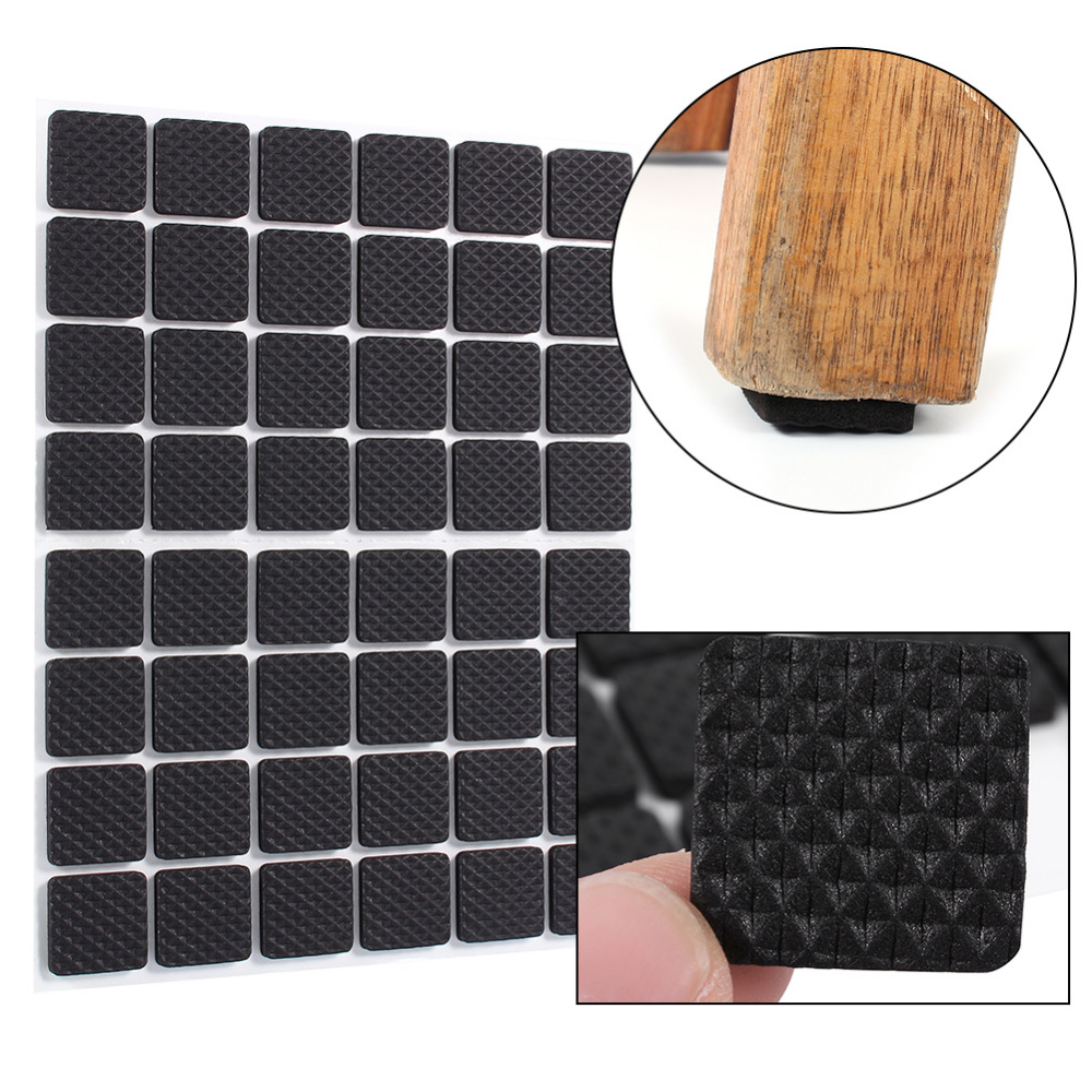 Black sofa chairs - 48pcs Lot Black Non Slip Self Adhesive Floor Protectors Furniture Sofa Table Chair Rubber Feet Pads To Protect Tables Leg Square