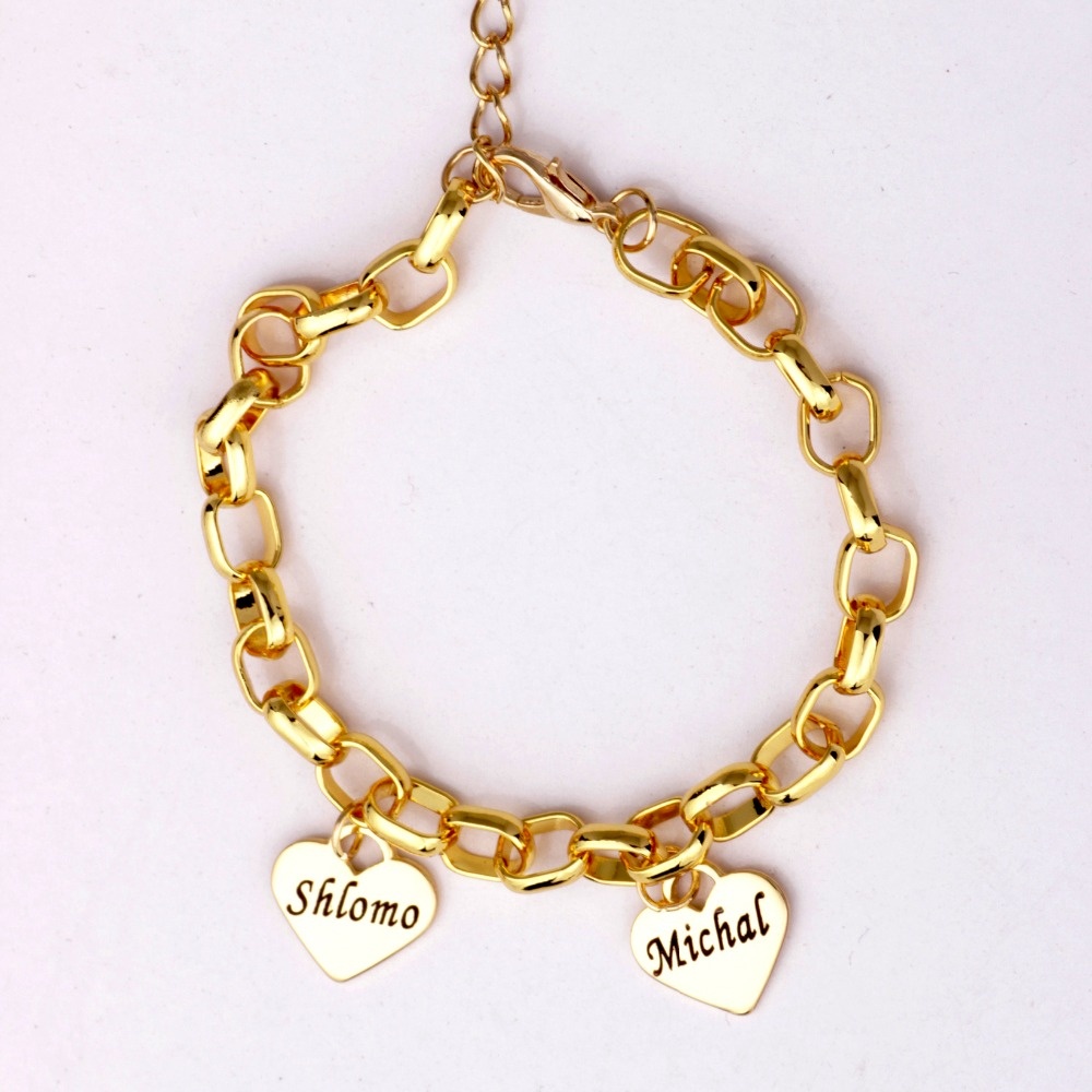 Mother's Personalized Heart Charm Bracelet Custom Made with up to 19 Names Best Gift for Mom and Kids Can Drop Shipping YP2758