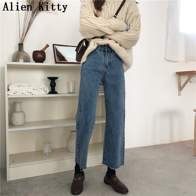Alien Kitty New Autumn High Street Jeans Simple Fashion Empire Zipper Fly Female Denim Straight Loose Ankle Length Plus Pants