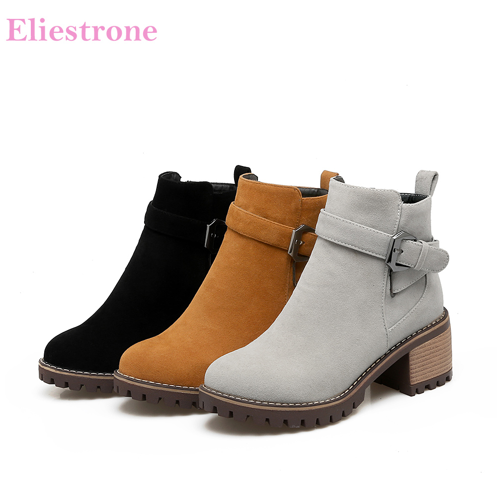 Brand New Sale Winter Black Gray Women Nude Ankle Boots Breathable Lady Riding Shoes Chunky Heel QV5-3 Plus Big Size 10 33 43